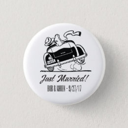 Just Married Retro Wedding Customized Button