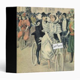 Just Married Riding A Bicycle 3 Ring Binder