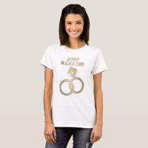 Just Married Romantic Gold Rings Wedding T-Shirt