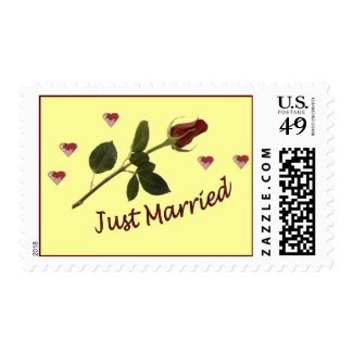 """""""Just Married"""" Rose and Hearts Postage Stamps"""