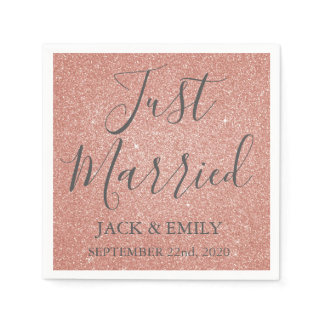 Just Married Rose Gold Blush Pink Napkins