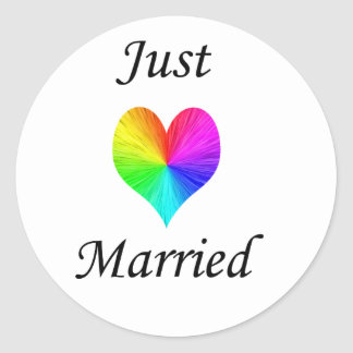 Just Married Round Stickers