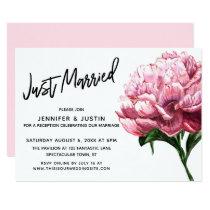 Just Married Script, Pink Watercolor Peony Flower Card