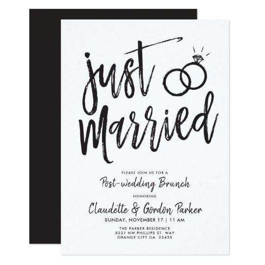 Post Wedding Party Invitation: Just Married Script Post-Wedding Brunch