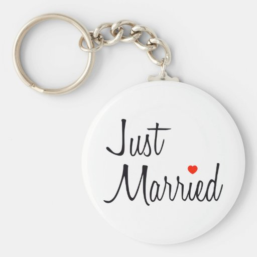 Just Married (Script With Red Heart) Keychains