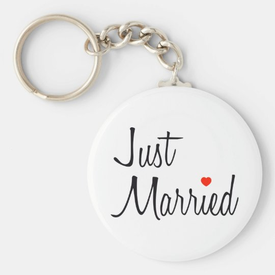 Just Married (Script With Red Heart) Keychain