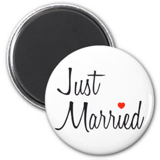 Just Married (Script With Red Heart) Magnet