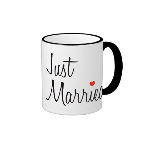 Just Married (Script With Red Heart) Mug
