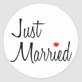 Just Married (Script With Red Heart) Round Sticker