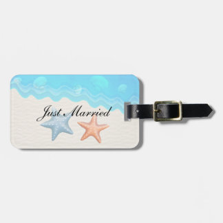 Just Married Seashells Beach Wedding Luggage Tag