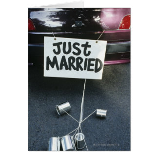 Just Married sign on back of car Card