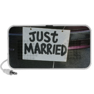 Just Married sign on back of car iPod Speakers