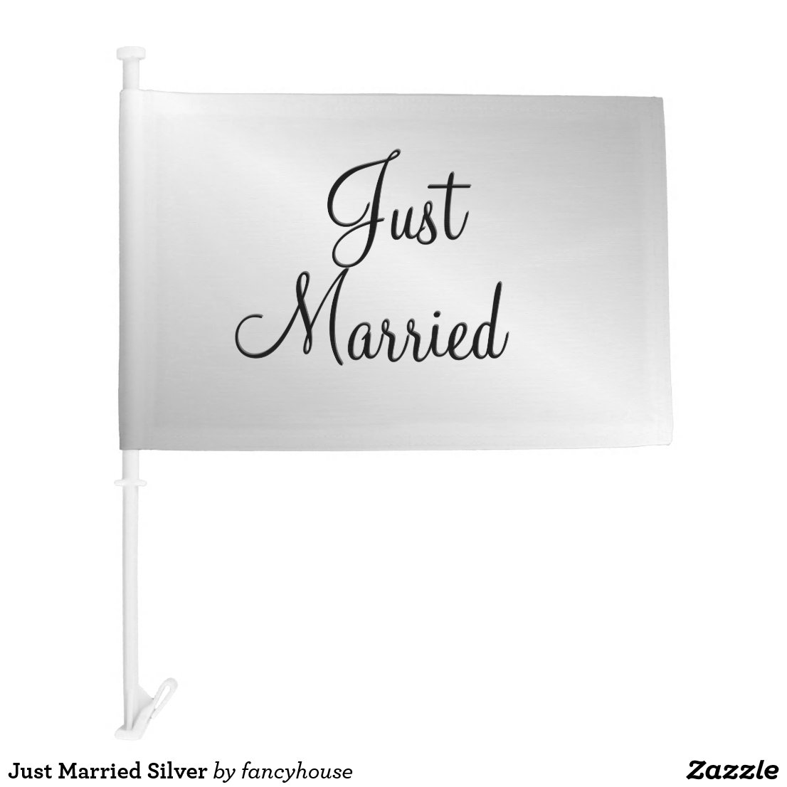 Just Married Silver Car Flag