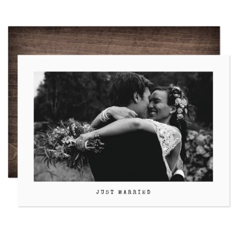 Just Married Simple Wedding Photo Announcement