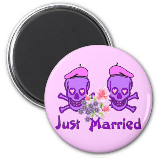 Just Married Skulls 2 Inch Round Magnet