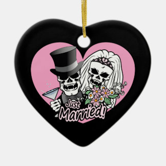 Just Married Skulls Double-Sided Heart Ceramic Christmas Ornament