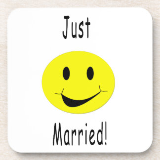 Just Married Smiley Puzzle Coaster