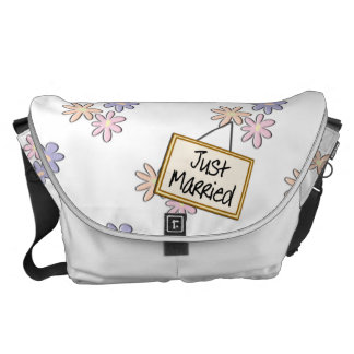 Just Married Spring Flowers Pastel Courier Bag