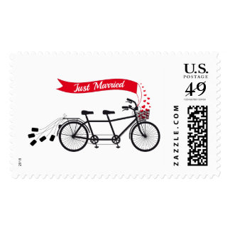 Just married, stamp with wedding tandem bicycle