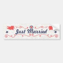 Just Married Starfish Coral Navy Nautical Wedding Bumper Sticker
