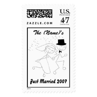 Just Married Stick Figure Bride & Groom Postage St