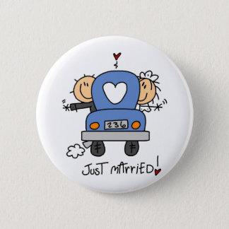 Just Married Stick Figure Wedding Button