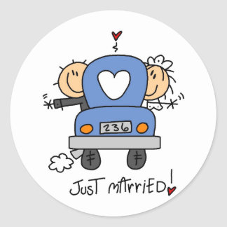 Just Married Stick Figure Wedding Stickers