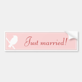 """""""Just married!"""" Sticker into pink with birdie"""
