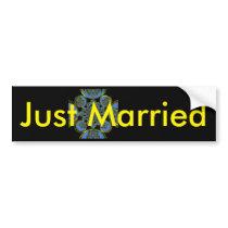 Just Married Sticker Template Car Bumper Sticker