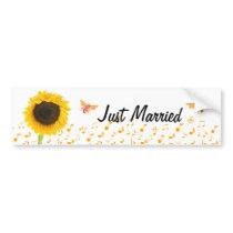 Just Married Sunflower Bumble Bee BumperSticker Bumper Sticker