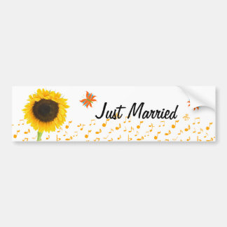 Just Married Sunflower Butterfly BumperSticker Bumper Stickers