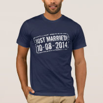 Just married t shirt with 2014 wedding date stamp