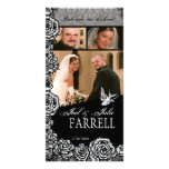 Just Married Tattoo Rose and Swallow Birds Photo Card Template