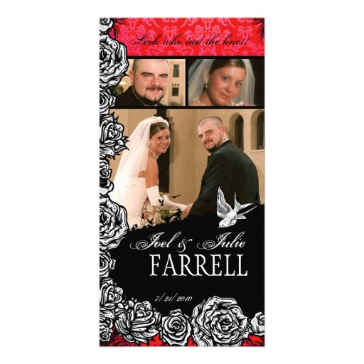 Just Married Tattoo Rose and Swallow Birds Photo Greeting Card
