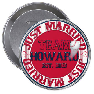 Just Married Team HOWARD 02-CUSTOMIZED Button Pin