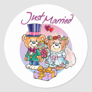 Just Married Teddy Bear Wedding Couple Classic Round Sticker