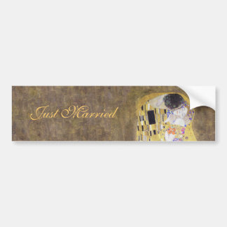 Just Married The Kiss by Gustav Klimt Art Nouveau Car Bumper Sticker