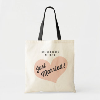 Just Married Tote Bag with Retro Script & Heart