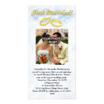 Just Married, Two Gold Bands/Clouds Customized Photo Card