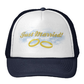 Just Married, Two Gold Bands/Clouds Trucker Hat