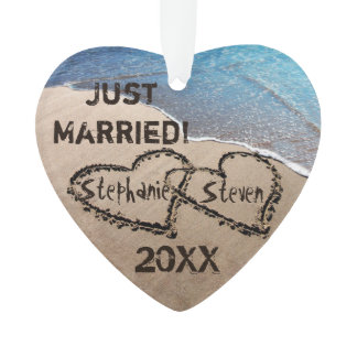 Just Married! Two Hearts In Sand Ornament