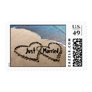 Just Married Two Hearts In The Sand Postage Stamps