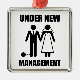 Just Married, Under New Management Metal Ornament