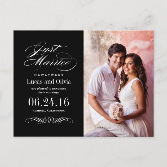 just married wedding announcements black white zazzle com