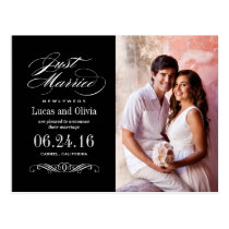 Just Married Wedding Announcements   Black & White