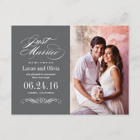Just Married Wedding Announcements | Charcoal Gray