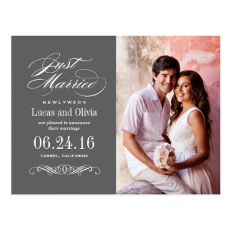 Just Married Wedding Announcements | Dark Gray Postcard