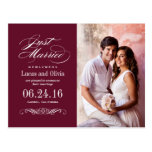 Just Married Wedding Announcements | Maroon Red Postcard