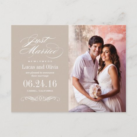 Just Married Wedding Announcements | Neutral Taupe