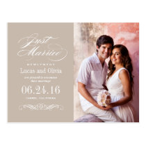 Just Married Wedding Announcements   Neutral Taupe